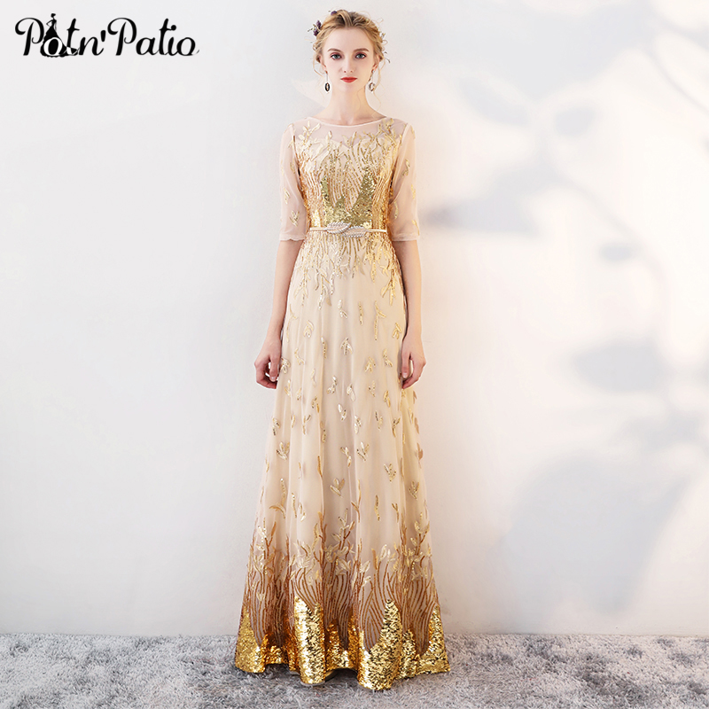 Gold Evening Dresses Long 2019 New Elegant O neck A line Floor Length Sequined Formal Dresses