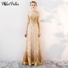 Gold Evening Dresses Long 2019 New Elegant O-neck A-line Floor-Length Sequined Formal Luxury Gowns For Women