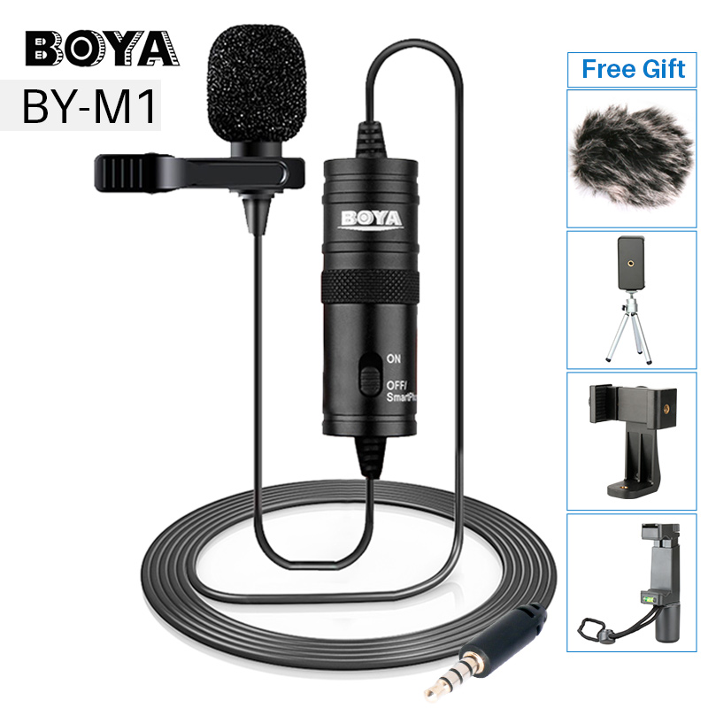 BOYA BY-M1 Lavalier Audio Video Mikrofon Clip-Auf Kondensator Mic Recorder für iPhone X 8 Plus Canon Nikon DSLR zoom Camcorder