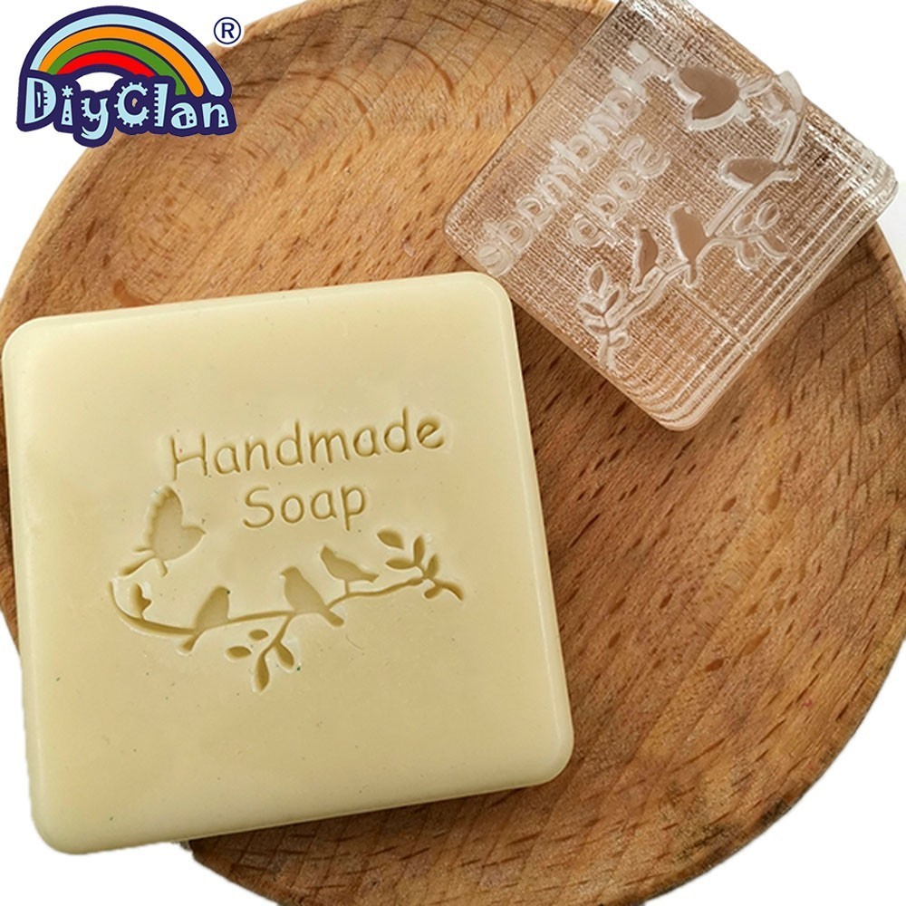 Bird Pattern Handmade Resin Soap Making Stamp Mold Clear Diy Organic Glass Soap Seal With Handle Acrylic Chapters Custom