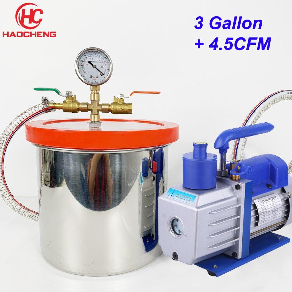 Free Shipping 3 1 Gal 12L Vacuum Chamber with 4 5CFM 220V Vacuum Pump 27cm 23cm