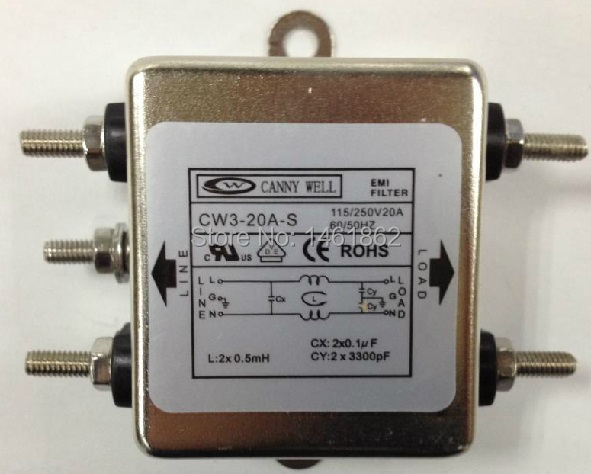 CW3-20A-S power EMI filter noise filter with fuse 10A 15A 20A 115V 250V UL cUL VDE and RoSH CANNY WELL f01979 20 20x cw