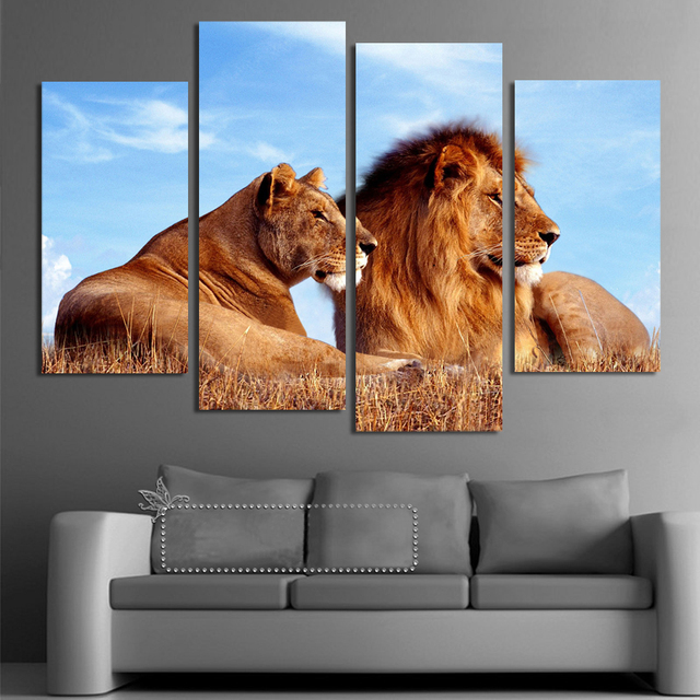 Charmant 4 Panels Lion King Abstract Paintings On Canvas Wall Pictures For Living  Room Home Decor Wall