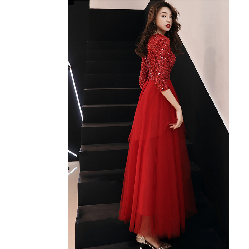 Vestidos De Gala Red Sequin Zipper O neck Long Dresses Women Party Night Tight Tulle Half Sleeve Prom Dress Plus Size 2019 E458 in Prom Dresses from Weddings Events