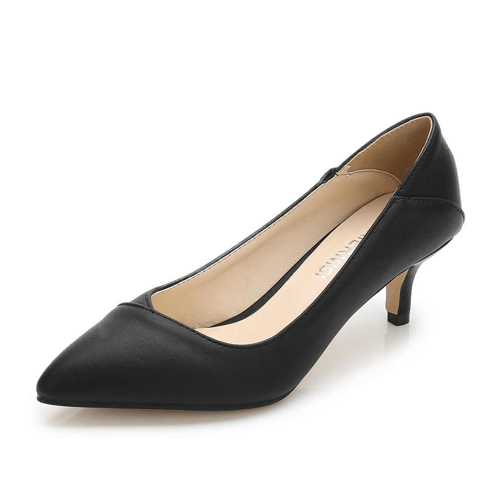 Artı Boyutu 36-46 Kadın Ayakkabı Sivri Burun Pompaları Patent Pu rahat ayakkabılar Kitten Topuklu Bot Ayakkabı Düğün ayakkabı zapatos de mujer