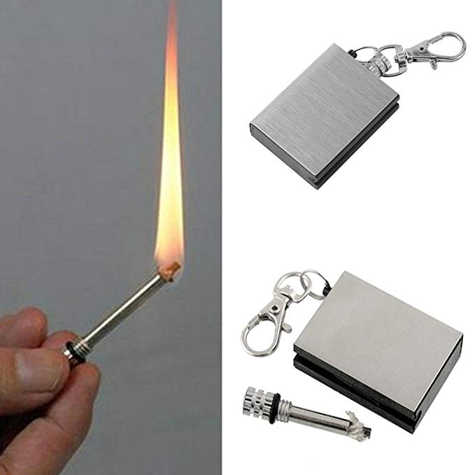 Stainless Firestarter Outdoor Camping Hiking Survival Flint Portable Keychain Match Lighter Emergency Survival Tool Fire Starter