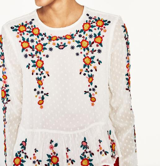 47765ab5 WISHBOP NEW Woman 2017 Floral EMBROIDERED PLUMETIS BLOUSE Round neck long  sleeves Ruffles Hem Shirts top