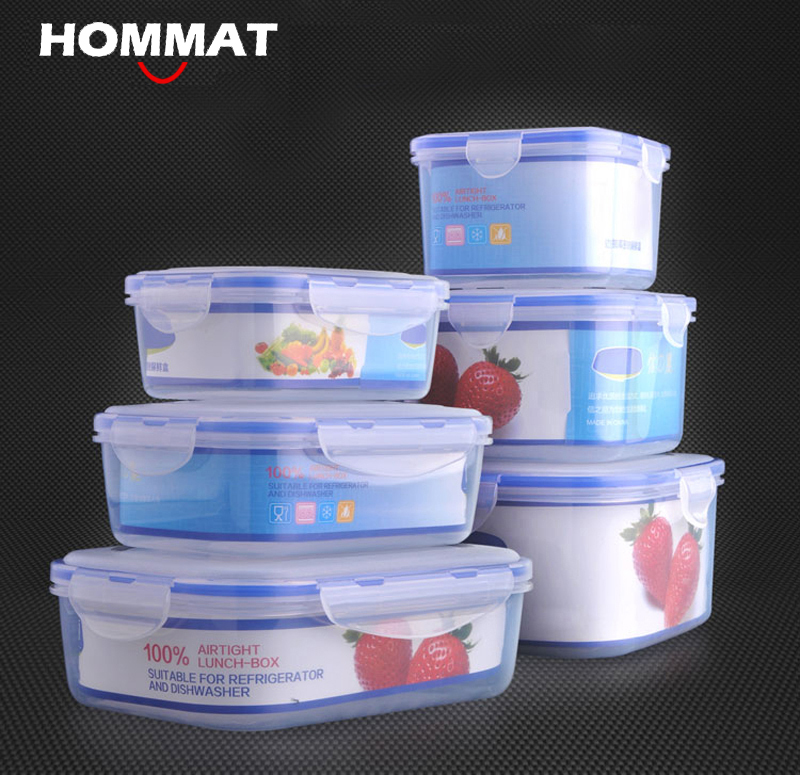set of 3 pcs plastic kitchen storage boxes lunch boxs airtight seal food storage container fruit
