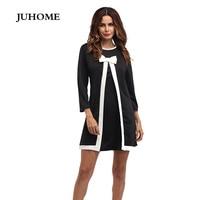 Kadınlar için marka elbise 2017 uzun kollu sonbahar kış giysileri çalışmak kısa parti tunik elbise robe femme gelir güz siyah yay elbise