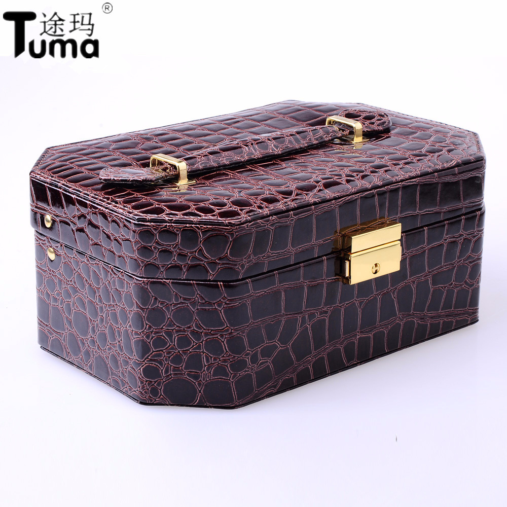 High Grade Star Anis Pu Jewelry Box European Style Octagon Jewelry Storage Box Cosmetic Box With Mirror For Holding Jewelry