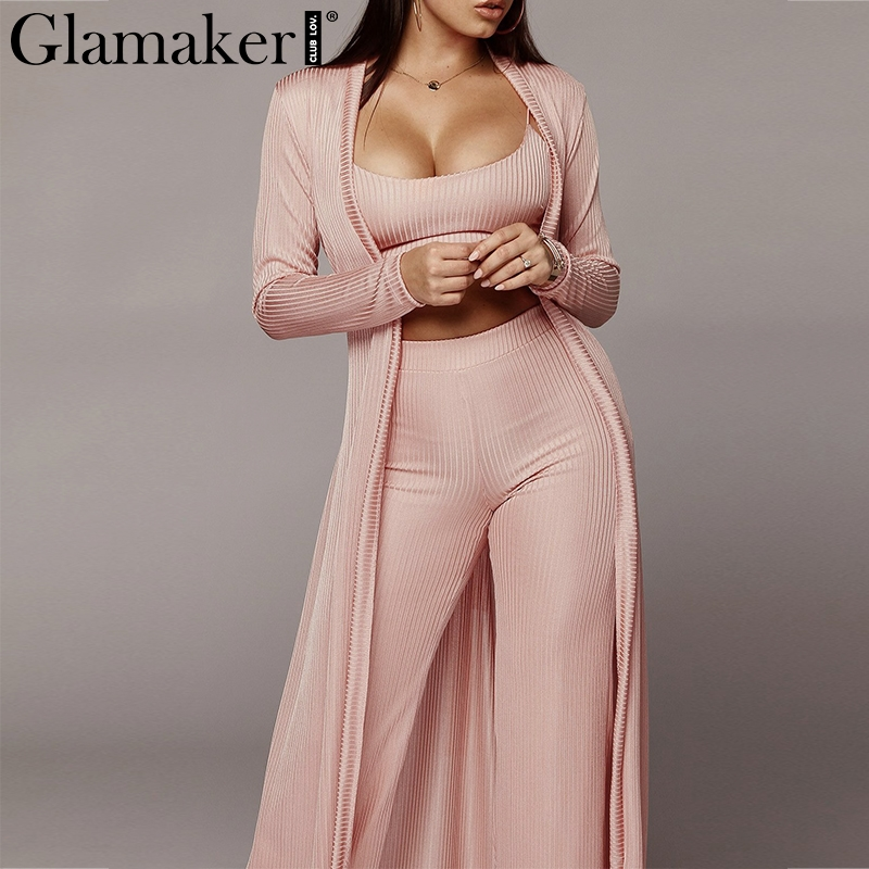Glamaker Pink 3pcs suit sexy   jumpsuit   Women wide leg knitted long playsuit Female   jumpsuits   rompers overalls plus size 4 colors