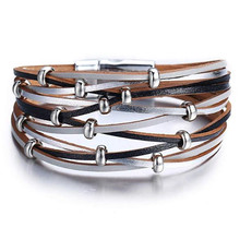 Fashion Jewelry Multilayer Leather Bracelets For Women Trendy Design Beads Charm Double Wrap Bangles