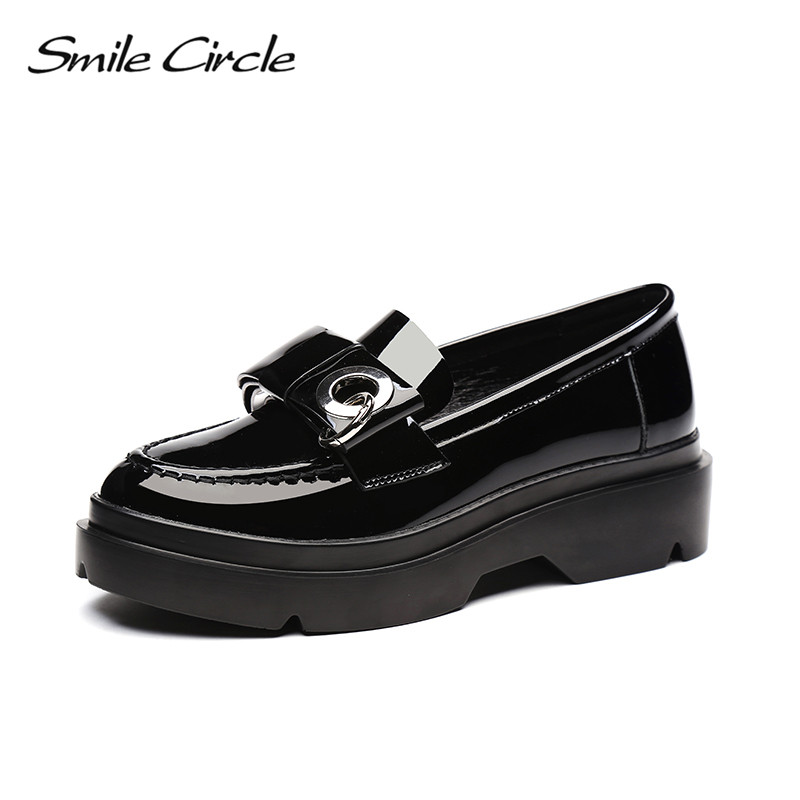 Smile Circle 2018 British Style Patent Leather Shoes For Women Fashion Bowknot Round Toe Flat Platform Casual Shoes A98A301-1 beffery women s shoes british style patent leather flat shoes fashion thick bottom platform shoes for women lace up casual shoes