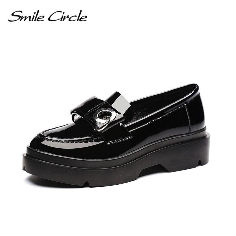 De Bout Rond Bowknot Style Mode Femmes Noir Pour En Cuir Plat forme A98a301 Chaussures 2018 Casual 1 Verni Sourire Cercle Britannique Plate 6EqpOSxw