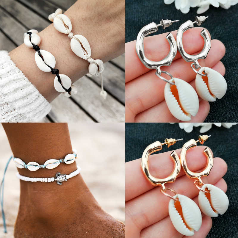 2019 New Natural Sea Shell Earrings For Women NE+EA Fashion Gold Color Cowrie Shell Jewelry Summer Beach Jewelry Lady Pendientes