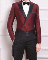 Wine Red Swallow Tailed Coat Men Suits For Wedding 2Pieces(Jacket+Pants+Tie) Fashion Custom Homme Terno Slim Fit Blazer