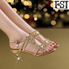 купить FSJ Sandals Women Shoes Genuine Leather Sheepskin Thin Med HeelS Buckle Strap Crystal Elegant Gold Sandals For Women Size 10 по цене 2595.63 рублей