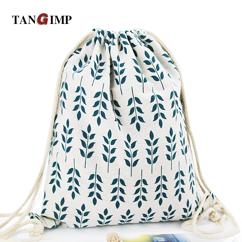 TANGIMP Drawstring Backpacks Cotton Linen Banana Cute Cat Flower Printed Women Casual Kid's PE Bags harajuku Travel Beach Bags