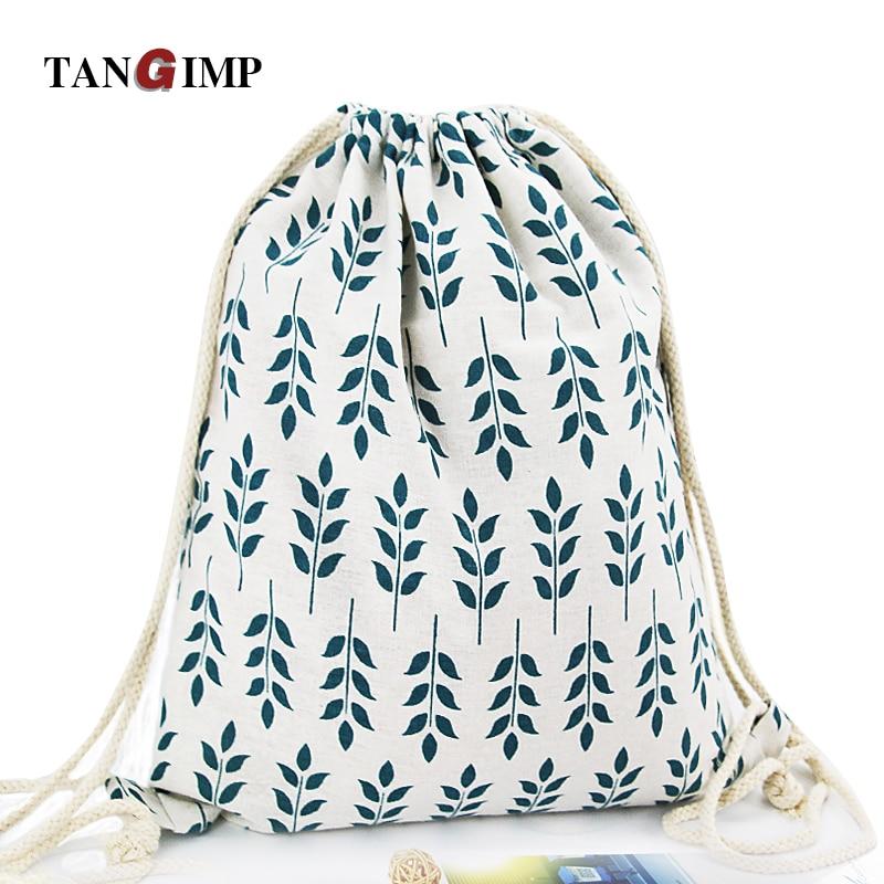 TANGIMP Drawstring Rygsæk Cotton Linen Banana Sød Kat Blomst Trykte Damer Casual Kid's PE Tasker Harajuku Travel Beach Bags