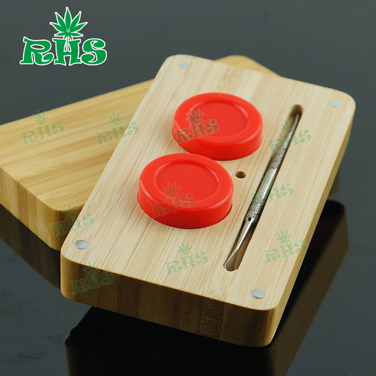 Gift box wood design 14 ml wooden box for silicone wax container,Non-stick Concentrate Storage silicone dab container 5sets