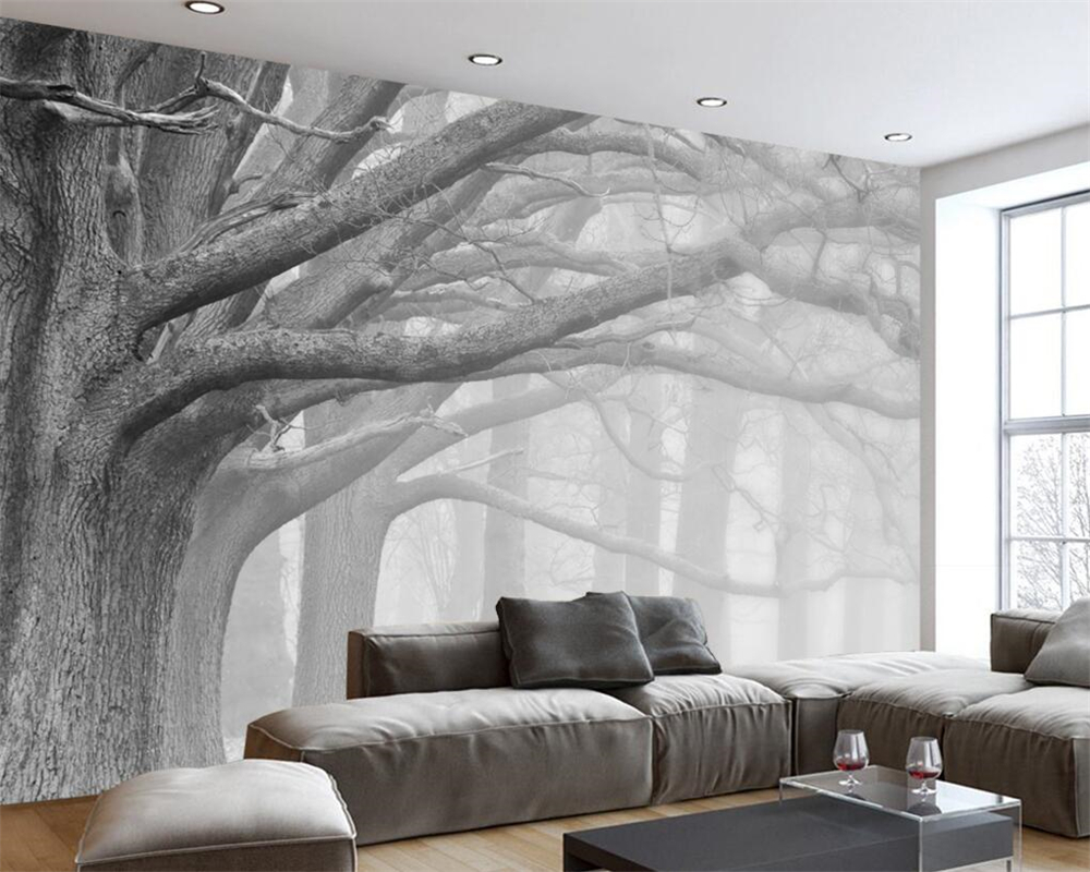 Custom 3D Wall Paper Natural Scenery Murals Winter Birch Forest ...