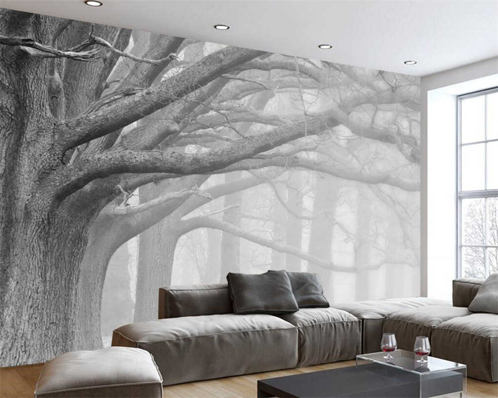 Beibehang Black And White Forest Tree Art Background Wall Painting Decoration 3d Wallpaper Bedroom Living Room Wallpaper Murals