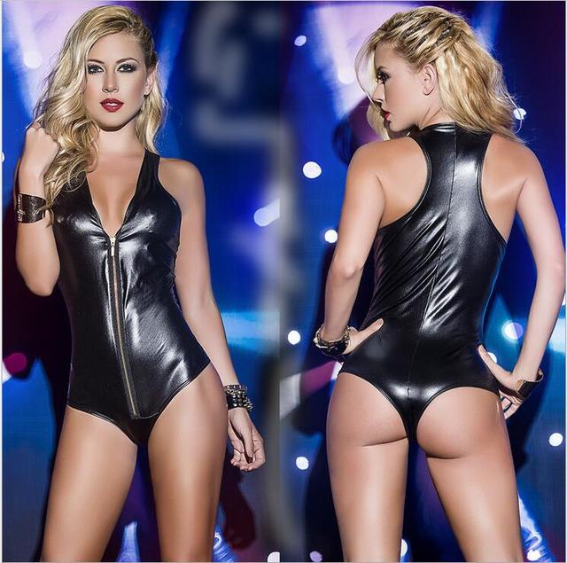 New Sexy Women's Bodysuit Plunge V Neck Faux Leather PVC Wet Look Catsuit Long Sleeve Leotard Jumpsuit Club Wear