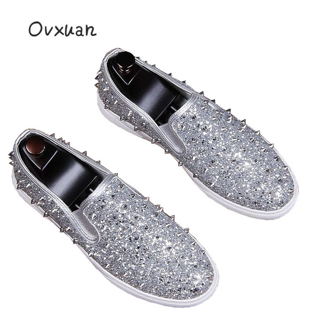 Italian Gold Silver Spiked Loafers Shoes Men Glitter Sequins Banquet Prom  Wedding Shoes Casual Slip On Rivets Men Shoes Leather a99dbaf1a376