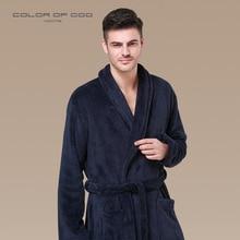 Winter Men Flannel Bathrobe Lapel Thick Bath Robe Belt Pajamas For Comfort Pijama Hombre Badjas Long-sleeve Kimono Sleepwear