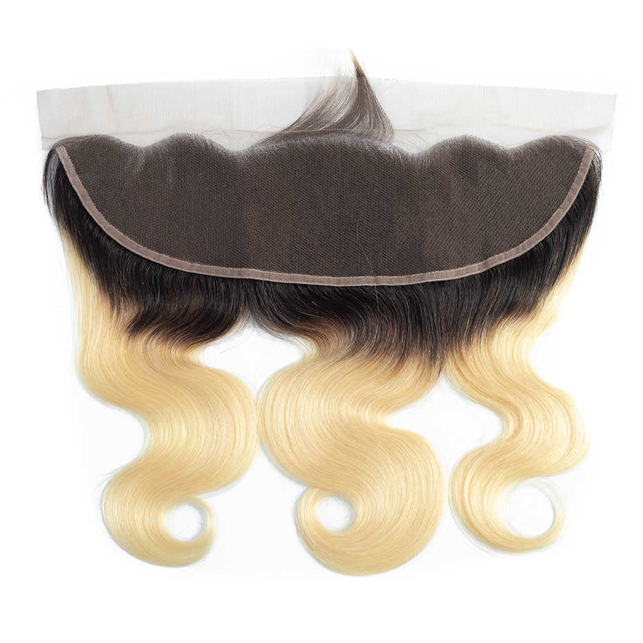 Габриэль бразильские объемная волна Кружева Фронтальная застежка 13x4 с эффектом деграде (переход от темного к светлому), T1b/613 блондинка 100% Remy Пряди человеческих волос для наращивания Бесплатная доставка
