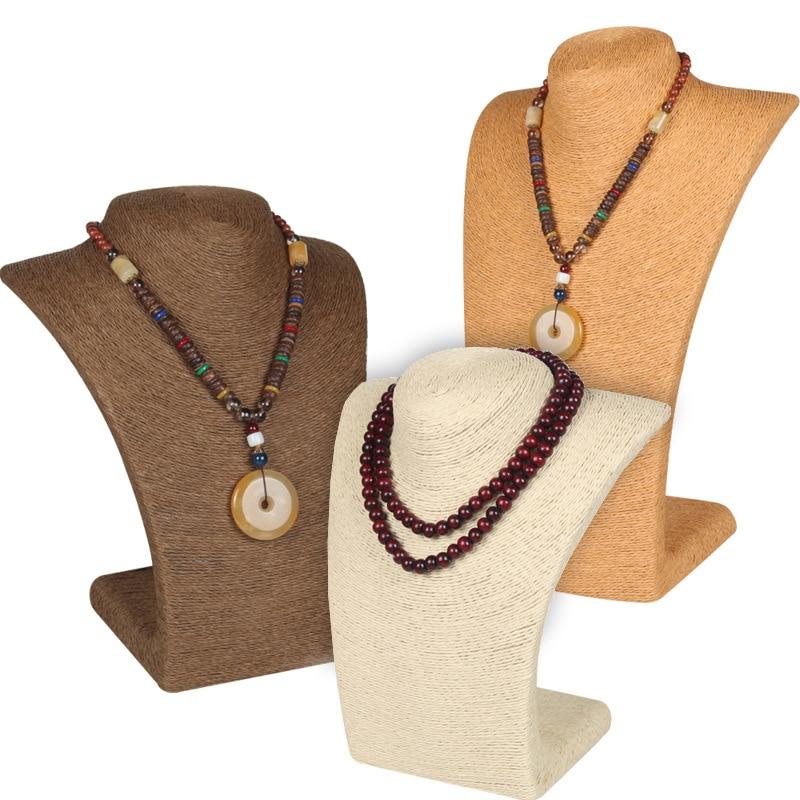 Hemp Rope Bust Jewelry Holder Necklace Stand Display Jewelry Holder Organizer Necklace Display Stand sieraden houder