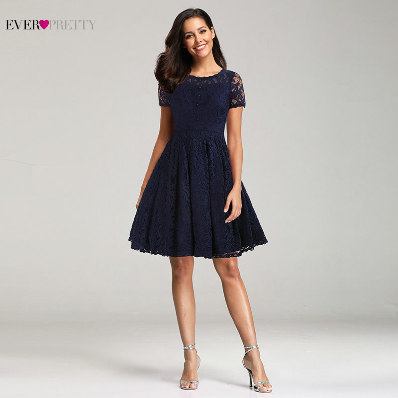 Women Navy Blue Cocktail Dresses Ever Pretty EZ03066 Knee-Length Button Cocktail Dress With Short Sleeve Lace Party Gowns cocktail dress