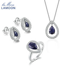 5eeea27381db Lamoon Teardrop 100% реальный синий сапфир серебро S925 Fine Jewelry  комплект для женщин Water Drop серьги кольцо ожерелье V040-.