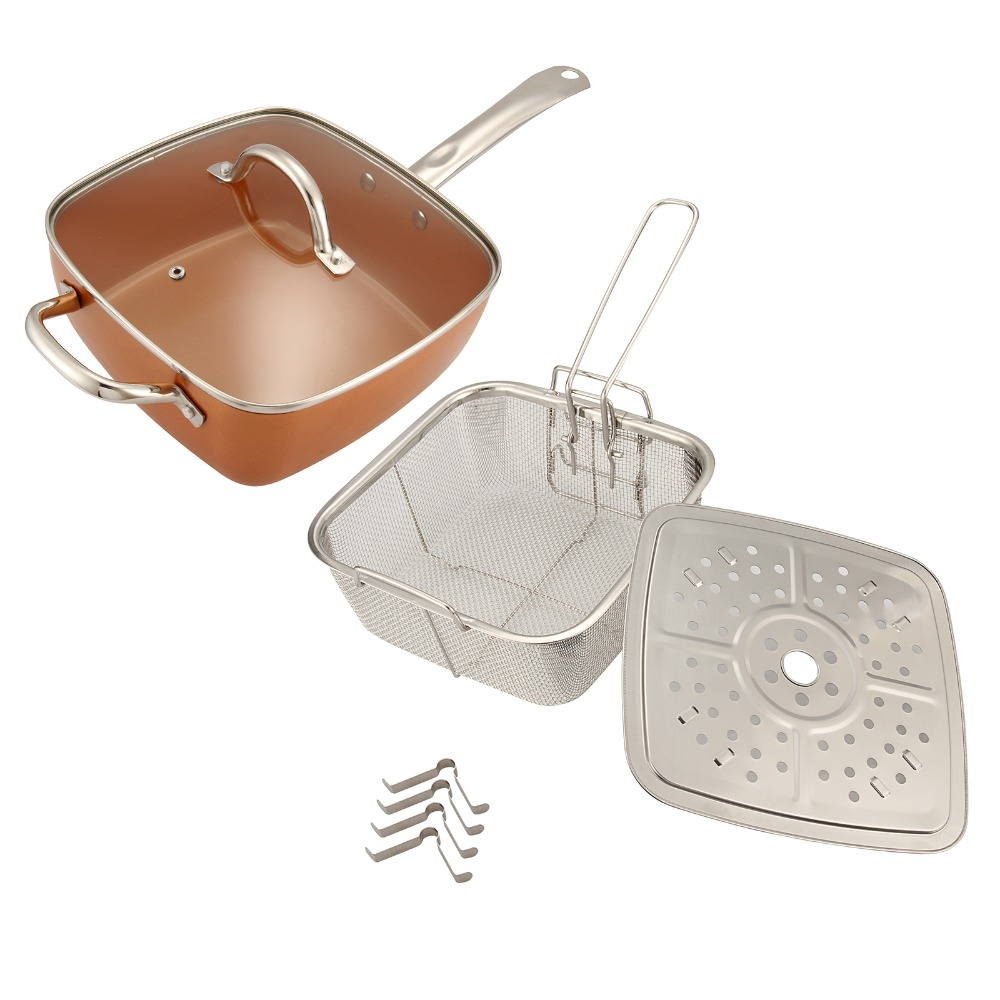 4pcs/kit Western Style Copper Square Non-stick Pan  Baked Grilled Fried Fry Basket Steamer Rack +Glass Lid