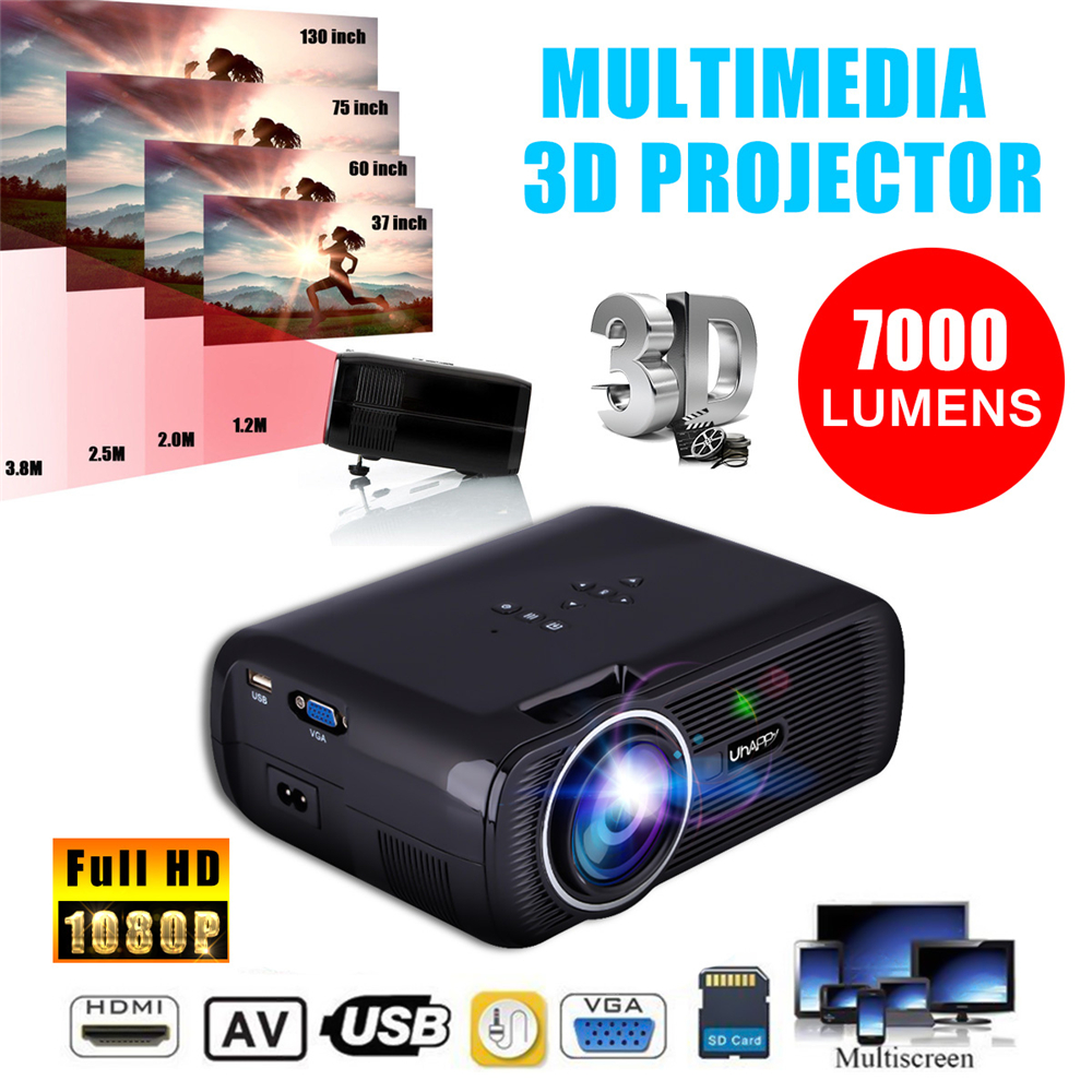 7000LM 1080P Portable LED 3D Projector Multimedia Home Office Theater Cinema USB HD