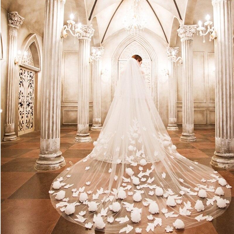 LAN Ting невесты Двухуровневая свадебная фата собор покрывалами 53 аппликации Кружево тюль