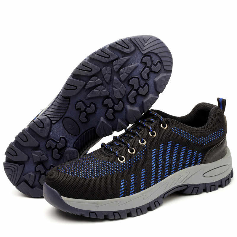 גברים קיץ נעלי בטיחות הבוהן פלדה קל משקל לנשימה לעבוד מגפיים נגד פירסינג הגנה אנטי להחליק הנעלה Sneaker מקרית