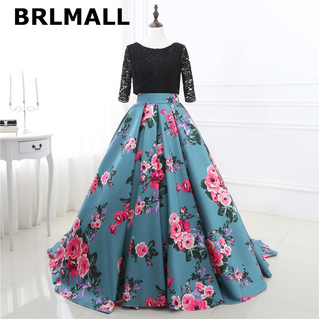2018 Floral Print Wedding Dresses Lace up Cheap Floor Length High ...