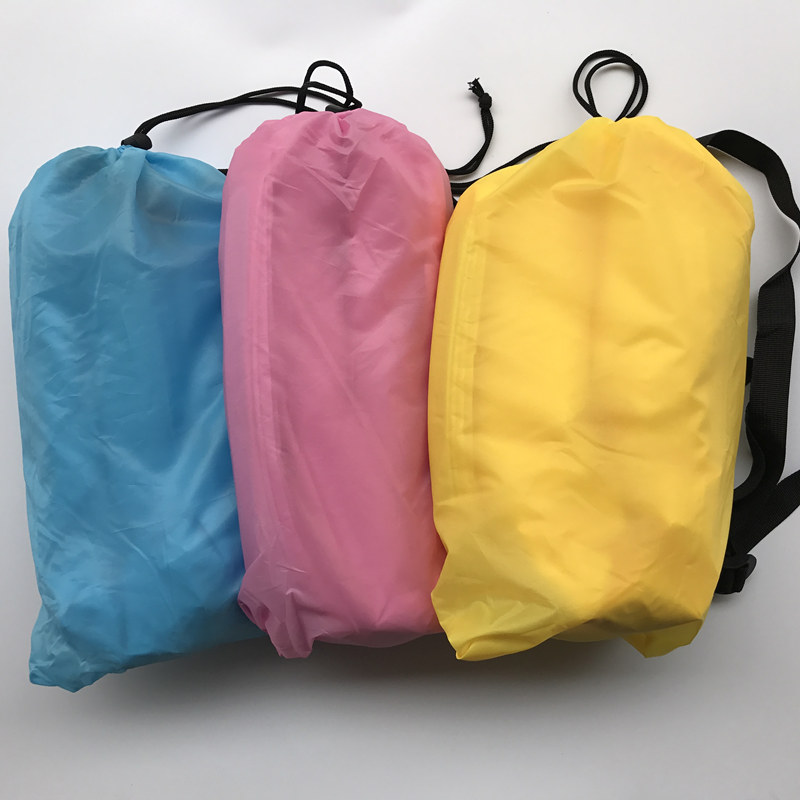 BIG SIZE 240X70CM Drop shipping Fast Inflatable Lazy Bag Air Banana Sofa Nylon Laybag Air Camping Portable Beach Bed Air Lounger