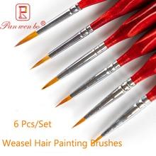 6Pcs High Quality Hook Line Pen Fine Watercolor Paint Brush for Professional Drawing Art Gouache Oil Painting Brush Art Supplies
