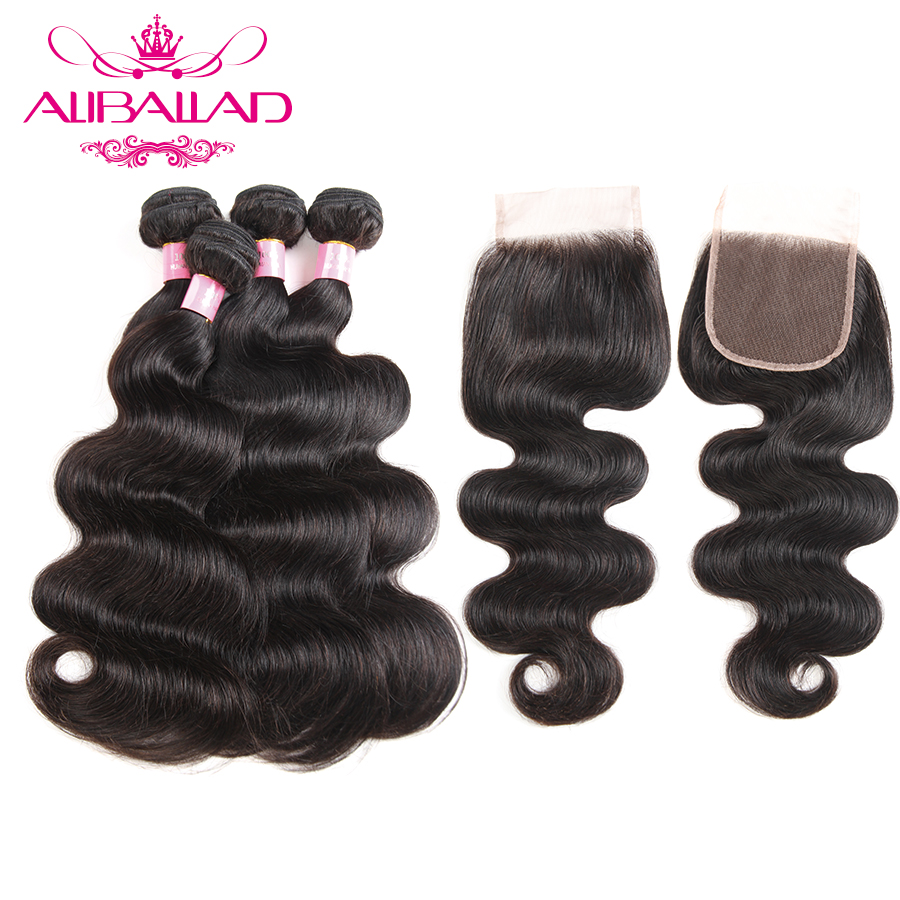 Aliballad Peruvian Hair Body Wave Bundles With Swiss Lace Closure 4x4inch 4 Bundles Non Remy Human