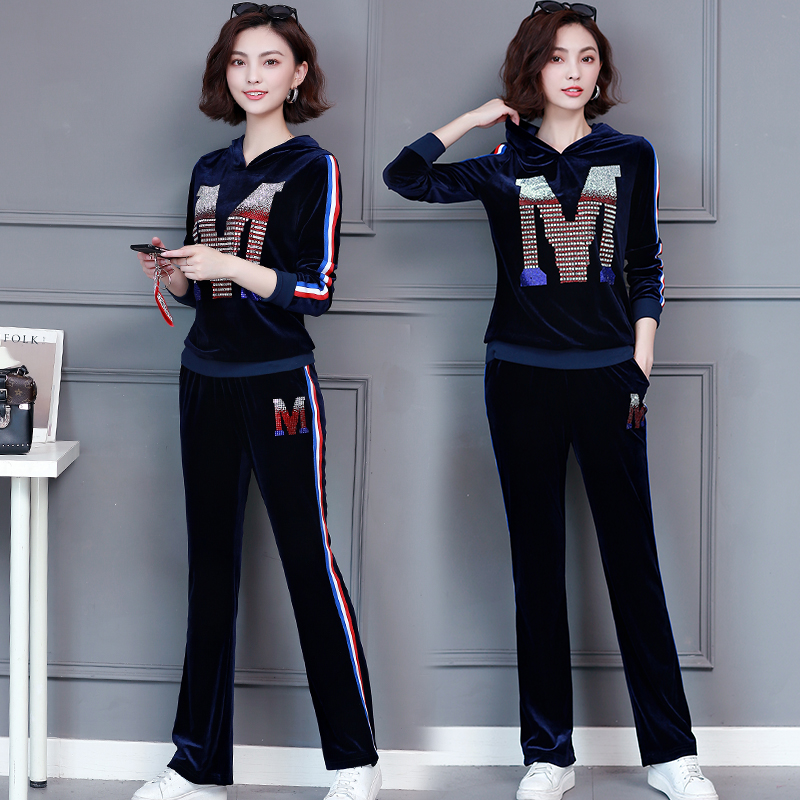 M-5xl 2019 Autumn Velvet Rhinestones Two Piece Sport Sets Tracksuits Women Plus Size Hooded Tops And Pants Casual Outfits Suits 37