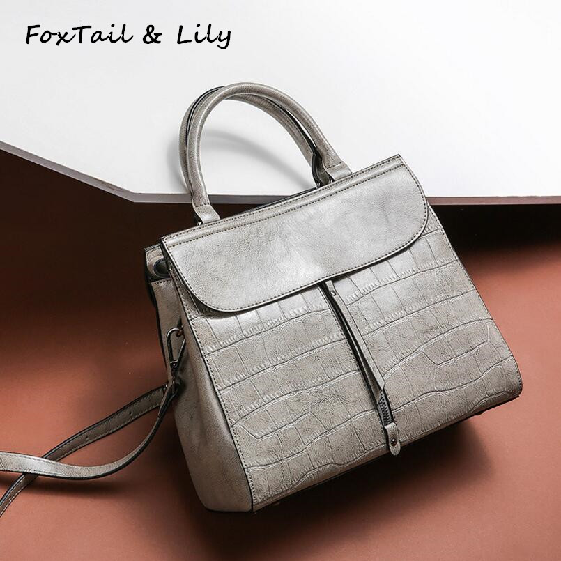 FoxTail & Lily New Stone Pattern Genuine Leather Luxury Handbags Women Bags Designer Brand Famous Ladies Shoulder Crossbody Bag hot sale 2016 france popular top handle bags women shoulder bags famous brand new stone handbags champagne silver hobo bag b075