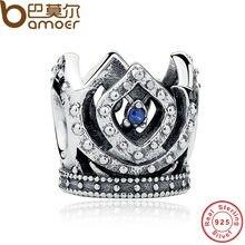BAMOER Original Charm Fit Bracelet 925 Sterling Silver Bead Blue Crown Beads Jewelry Making Berloque PAS221