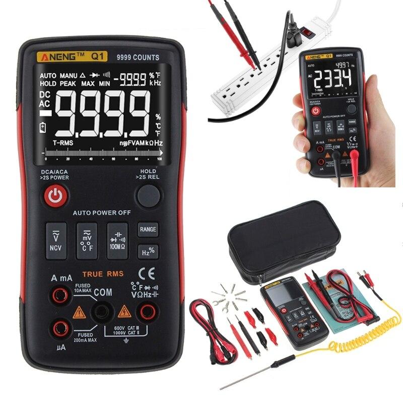 2019 Nouveau Q1 Vrai-RMS multimètre digital Auto Bouton 9999 Compte Graphique à Barres Analogique Testeur Mesure Instruments