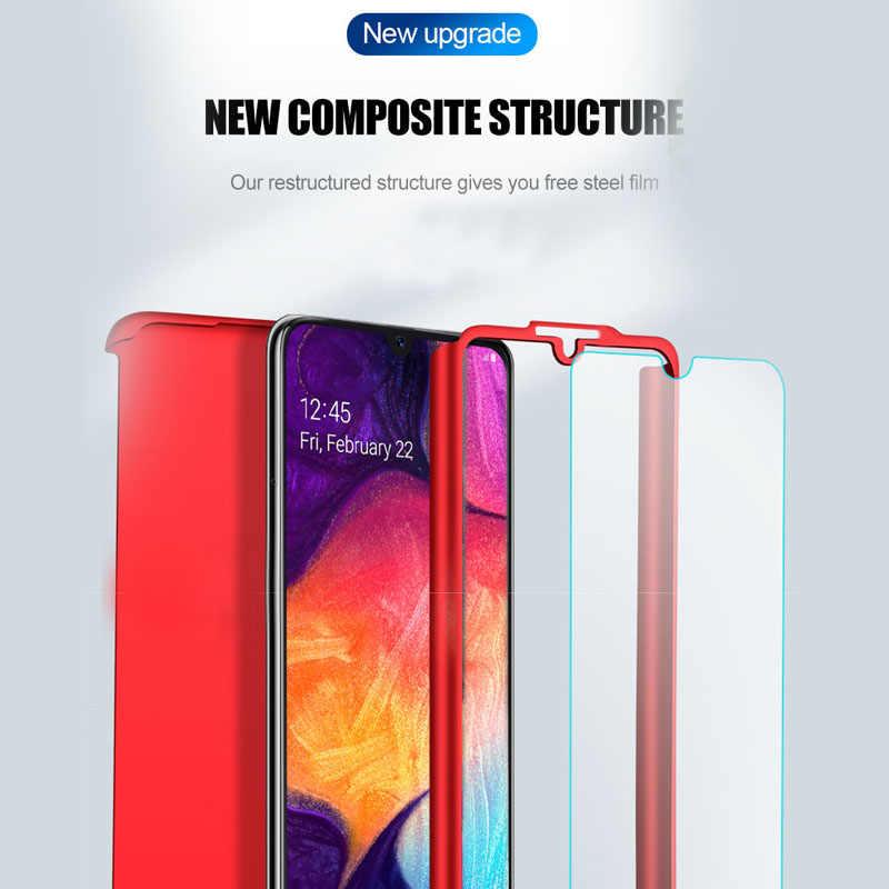 360 tam vücut samsung kılıfı Galaxy A70 A60 A50 A40 A30 A20E A10S M30 M20 M10 J4 J6 A6 A8 artı 2018 sert PC kapağı ile cam