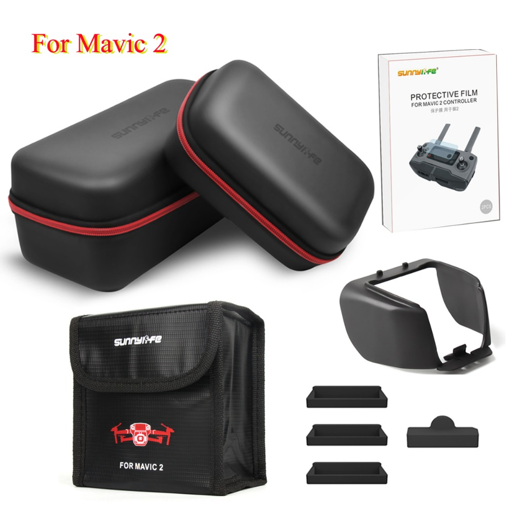 5 in1 Accessories Set Lens Hood PU Leather Storage Bag Battery Dust-proof Plug Protector for DJI Mavic 2 Pro Zoom