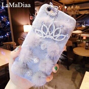 LaMaDiaa Luxury Rhinestone Soft TPU Crown Mink fur fiber