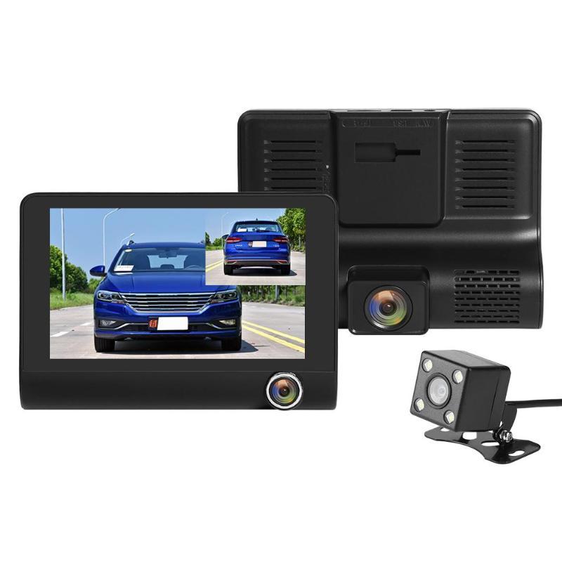 Triple Objektiv Auto DVR 4 zoll TN Bildschirm Nachtsicht Kamera WDR Dash Cam Auto Fahren Spiegel Video Recorder 170 grad Weitwinkel