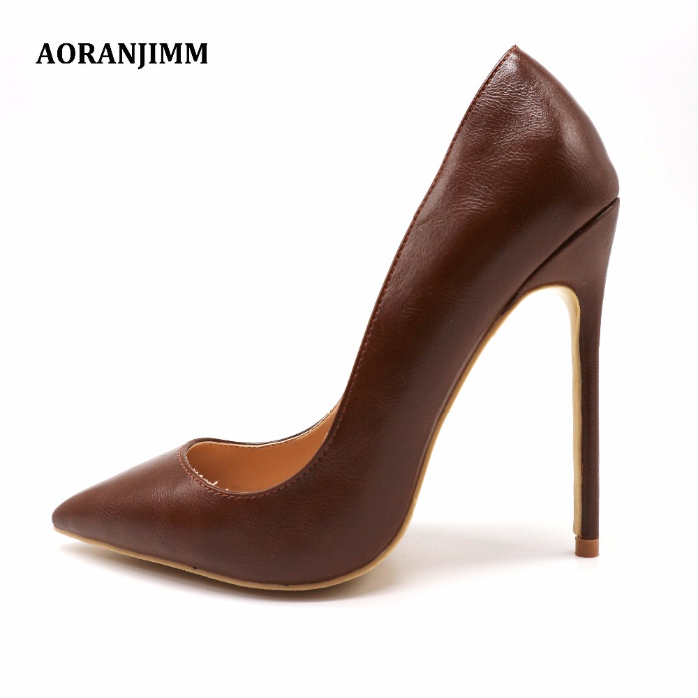 Free shipping real pic AORANJIMM coffee brown soft matte leather office lady women female 12cm high thin heel shoes pump-in Women's Pumps from Shoes    1